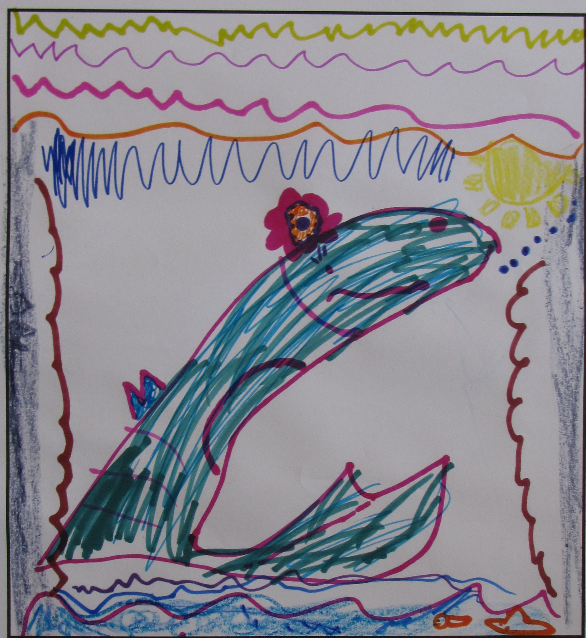 'My Colourful Whale' by Amelia Drury, Age 7.