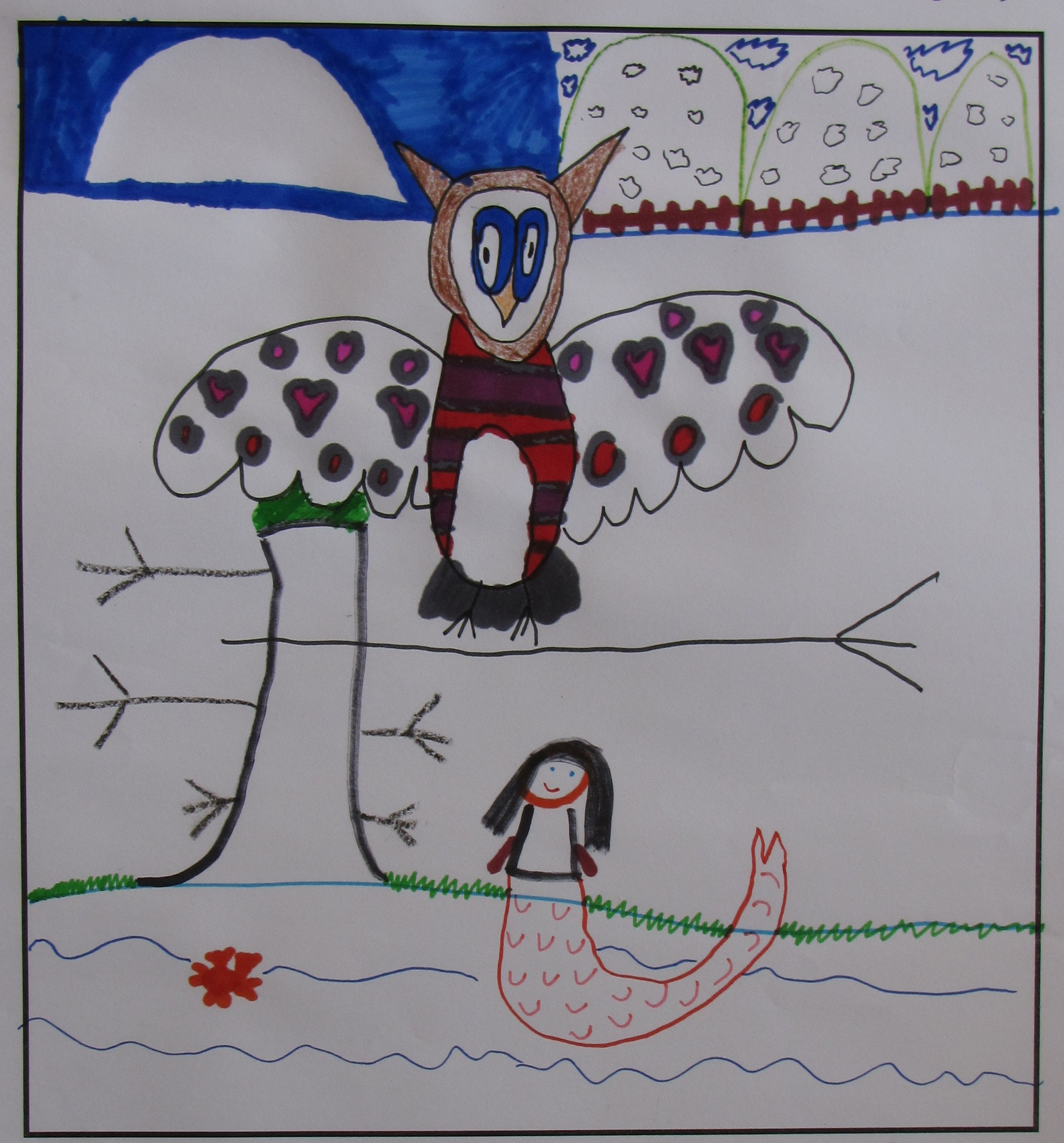 'The Owl and the Mermaid' by Erin Drummy, Age 6.