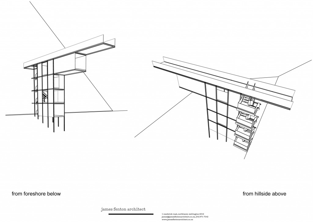 Elevations of the viewing platform. The concept behind the design is based on a periscope.